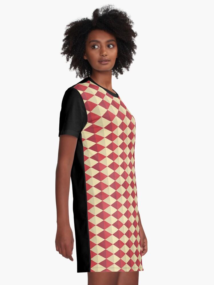 Alternate view of Geometric Pattern: Split Diamond: Red Graphic T-Shirt Dress