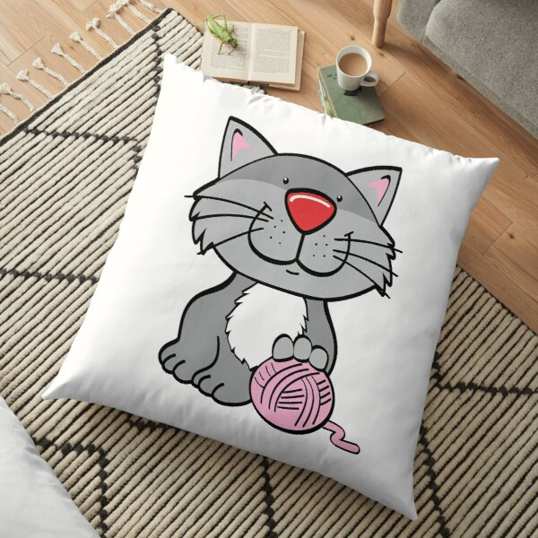 Cat and ball of wool Floor Pillow