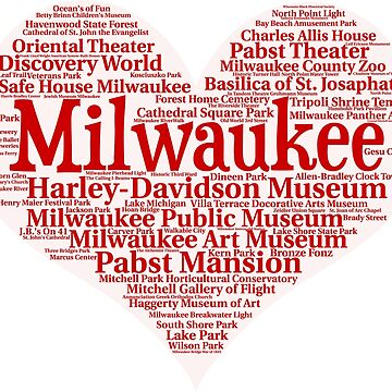 Heart of Milwaukee Red Heart Word Cloud Products by Mel747