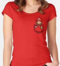 Pocket Mario Tshirt Women's Fitted Scoop T-Shirt