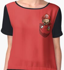 Pocket Mario Tshirt Chiffon Top