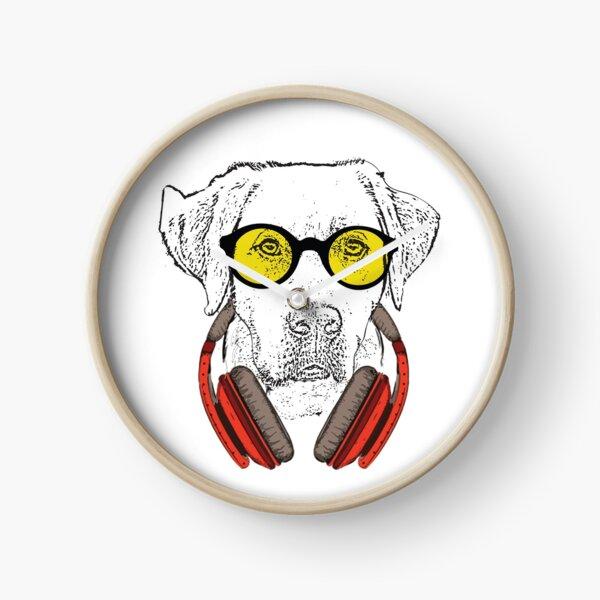 Barney my labrador with headphones and sunglasses Clock