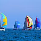 Spinnakers Out Whilst Racing On The Bay by Ronald Rockman