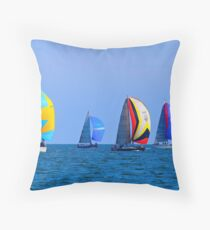 Spinnakers Out Whilst Racing On The Bay Throw Pillow