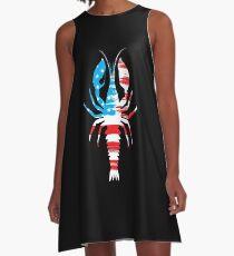 USA Flag American Cajun Stars & Stripes Crawfish A-Line Dress