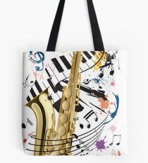 Saxophone and Jazz Tote Bag