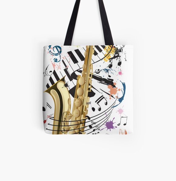 Saxophone and Jazz All Over Print Tote Bag