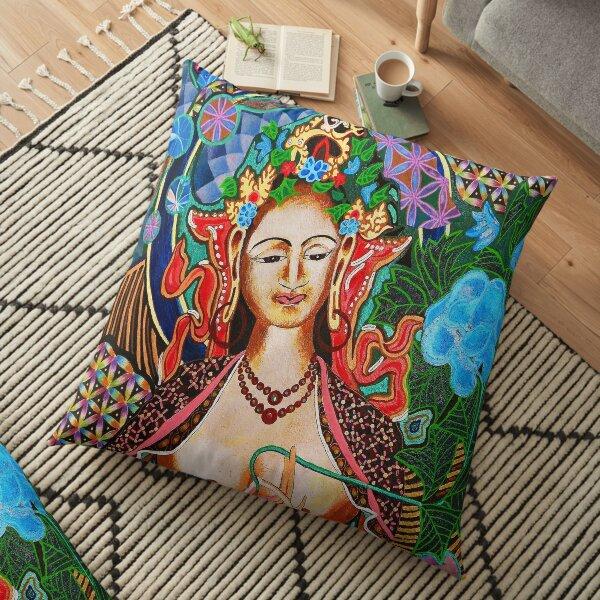 White Tara ~ Flower of Life Floor Pillow