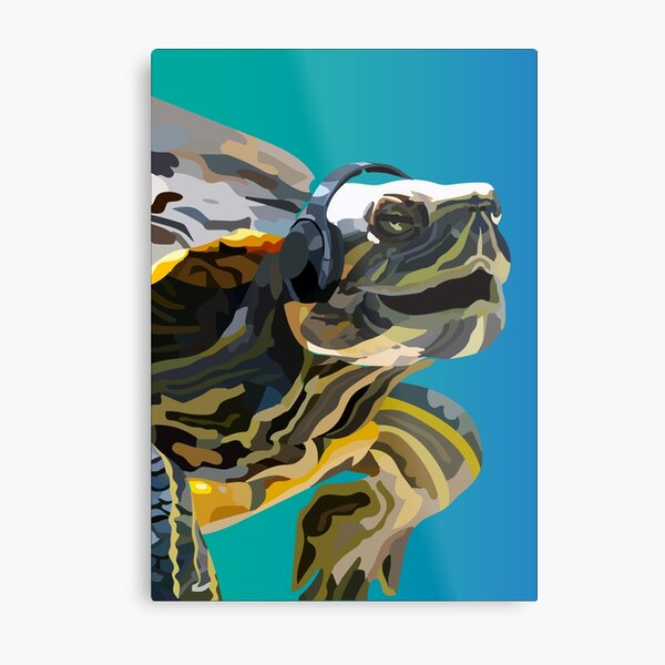 Singing Turtle Metal Print