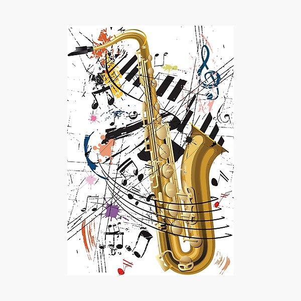 Saxophone, Jazz and Piano Photographic Print