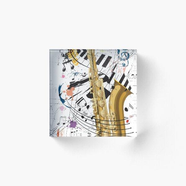 Saxophone, Jazz and Piano Acrylic Block