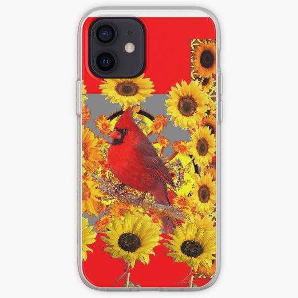 RED CARDINAL BIRD SUNFLOWER ABSTRACT  iPhone Soft Case