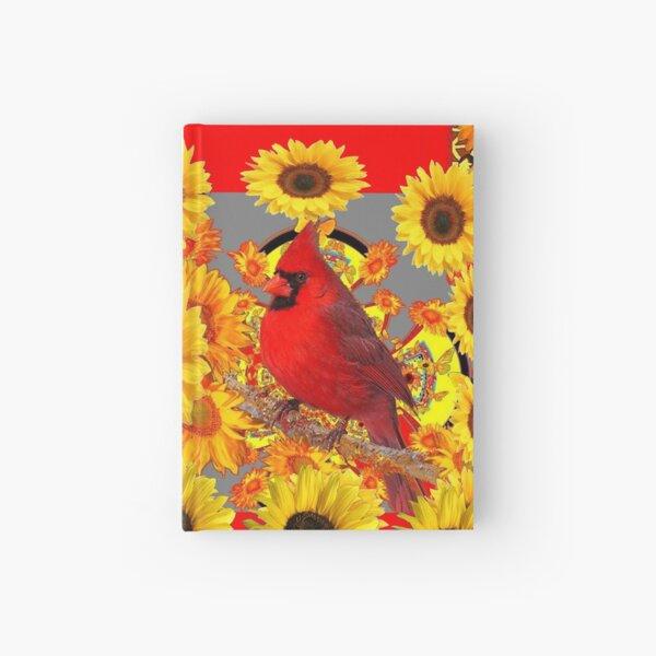 RED CARDINAL BIRD SUNFLOWER ABSTRACT  Hardcover Journal