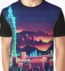 City Vaporwave Aesthetic Neon Shirt Graphic T-Shirt