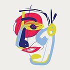 Der analytische Denker - modernes abstraktes Bürsten-Porträt von bicone