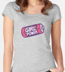 Girl Power Pattern in Pink Women's Fitted Scoop T-Shirt