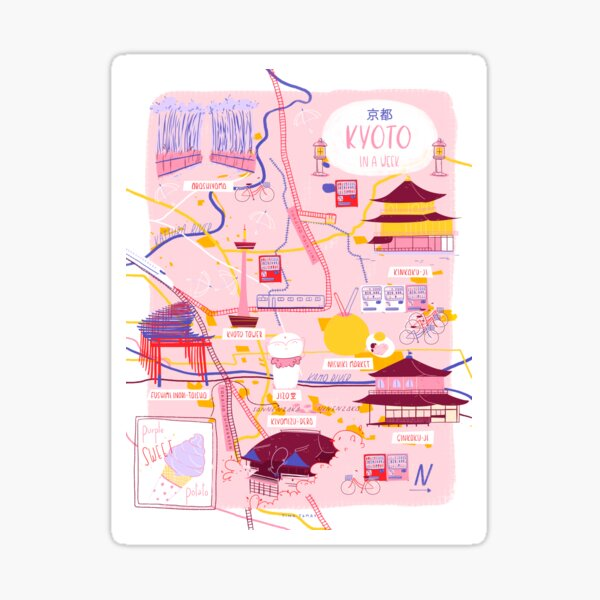Kyoto map Sticker