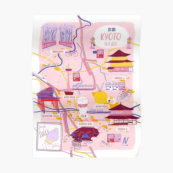 Kyoto map Poster