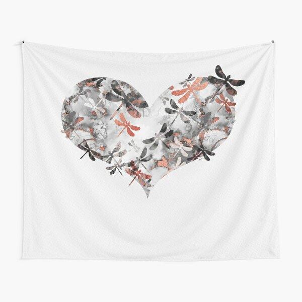 Corazón de libélula - Mármol y oro rosa Tela decorativa