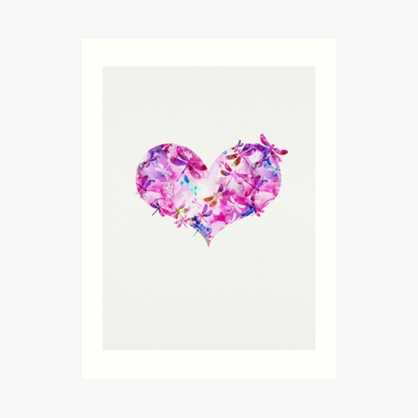 Pink and Blue - Dragonfly Heart Art Print