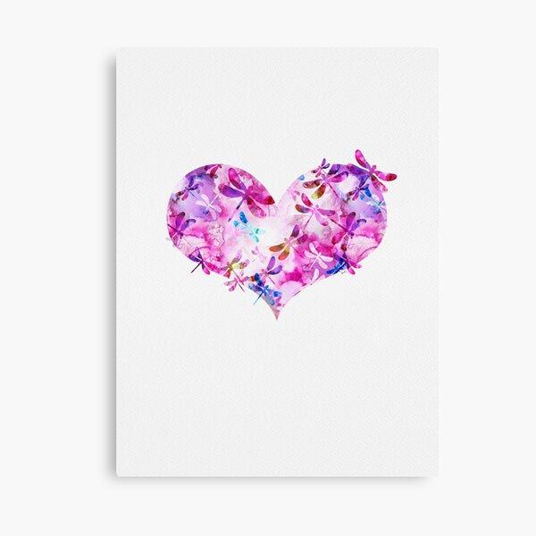 Rosa y azul - Corazón de libélula Lienzo