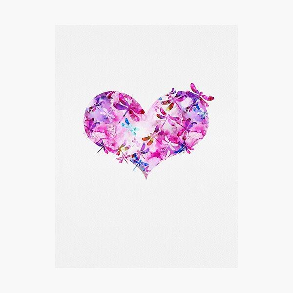 Rosa y azul - Corazón de libélula Lámina fotográfica