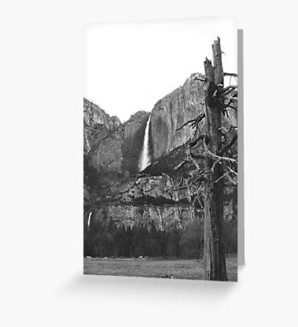 Upper & Lower Yosemite Falls (Black & White) Greeting Card