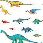 Dinosaur Sticker Collection - To Scale! by Rowena Aitken