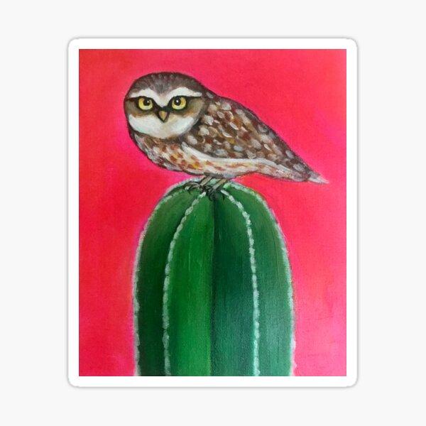 Dessert owl on cactus [ nature art Sticker