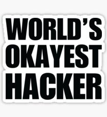 Funny World's Okayest Hacker Gift For Computer Nerds Coffee Mug Sticker