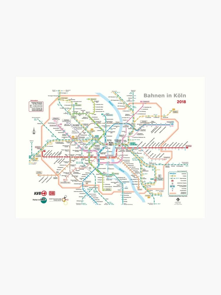 Köln Karte Deutschland.Köln Köln U Bahn U Bahn S Bahn Karte Deutschland Kunstdruck