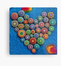 Mandala Stone Heart Metal Print