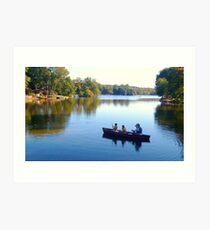 Fishing With Dad, Packanack Lake, Wayne NJ Art Print