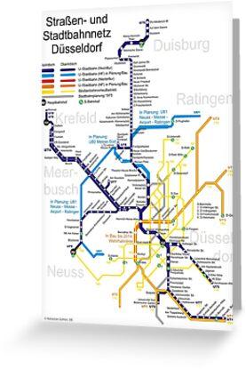 Dusseldorf Subway Map.Dusseldorf Metro Subway U Bahn S Bahn Map Germany Greeting Card By Superfunky