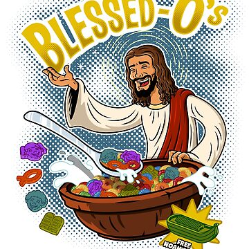 Blessed-O's religion themed cartoon cereal parody shirt by BrandXTees