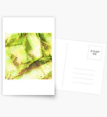 Fragmented Green Abstract Artwork Postcards