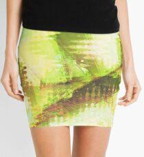 Fragmented Green Abstract Artwork Mini Skirt
