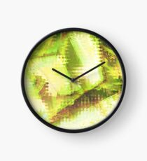 Fragmented Green Abstract Artwork Clock