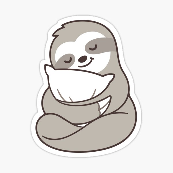 Cute sleepy sloth hugging pillow Sticker