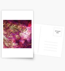 Fragmented Purple Red Abstract Artwork Postcards