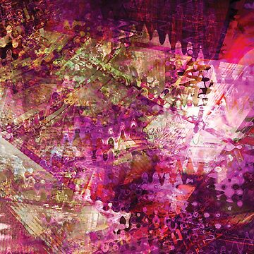 Fragmented Purple Red Abstract Artwork by CreativeBytes