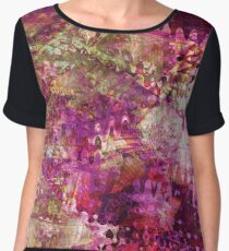 Fragmented Purple Red Abstract Artwork Chiffon Top