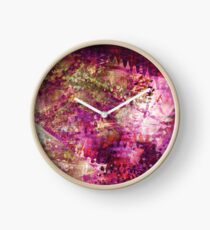 Fragmented Purple Red Abstract Artwork Clock