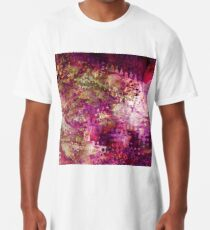 Fragmented Purple Red Abstract Artwork Long T-Shirt