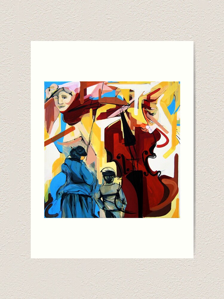 Alternate view of Expressive Cello People Painting Art Print