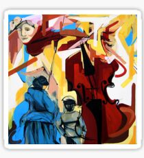 Expressive Cello People Painting Sticker