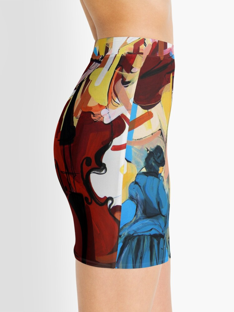 Alternate view of Expressive Cello People Painting Mini Skirt