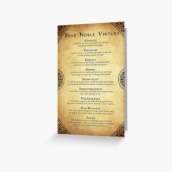 Neuf vertus nobles Carte de vœux