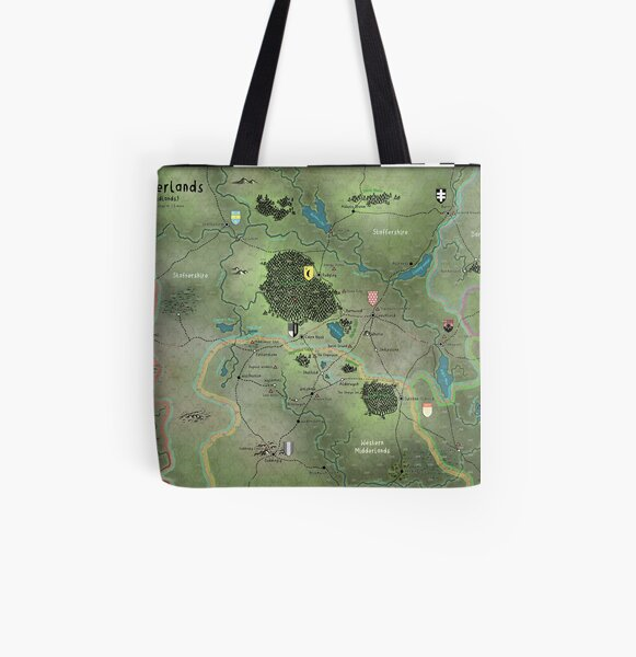 The Midderlands Hex Map All Over Print Tote Bag