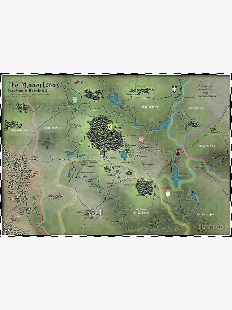 The Midderlands Hex Map by glynnseal